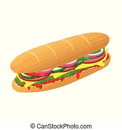 Submarine sandwich with cheese, salami and vegetables