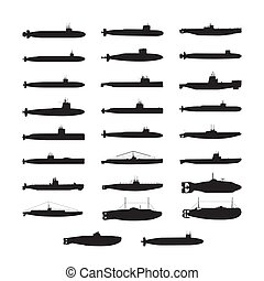submarine silhouette . Vector Illustration.. Collection set