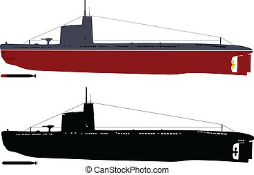 "Soviet M-class ""Malyutka"" submarine illustration (color and black&white) . Separate layers"