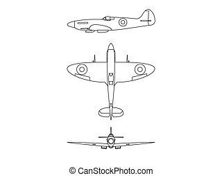 Submarine spitfire line illustration vector blue print on white background.