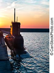 Submarine in port