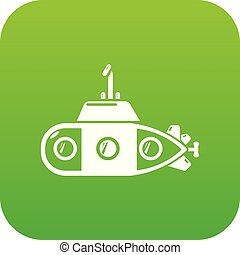 Submarine transportation icon green vector
