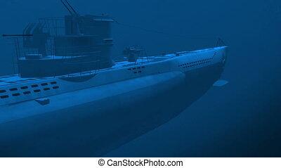Submarine underwater - Render of floating german diesel...