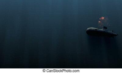 submarine underwater with bobm explosion