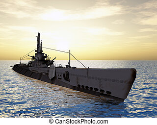 Submarine USS Trigger of WW2 - Computer generated 3D...