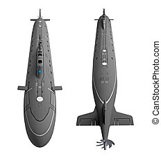 Submarine view from above 3D rendering