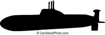 Submarine with periscope silhouette