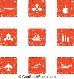 Submariner icons set, grunge style - Submariner icons set....