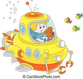 submariner, wasser, wenig, unter