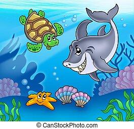 submarino, animales, caricatura