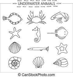 submarino, animales
