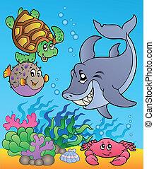 submarino, animales, y, peces, 1