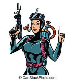 submarino, arma de fuego, traje, pesca, hembra, mojado, buzo