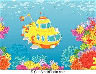 submarino, arrecife, de aguas profundas