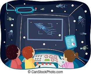 submarino, bioluminescence, niños, stickman