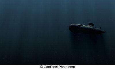 submarino, bobm, explosión, ilustración, submarino, 3d