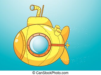 submarino, caricatura, amarillo, illustration.