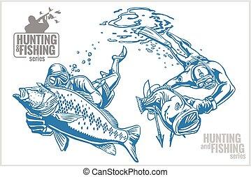 submarino, cazador, pez, -, ilustración, vendimia