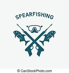 submarino, concepto, caza, club, spearfishing, design.