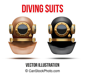 submarino, conjunto, ilustración, vector, traje, buceo, helmet.