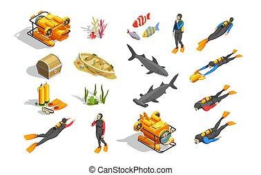 submarino, elementos, natación, colección