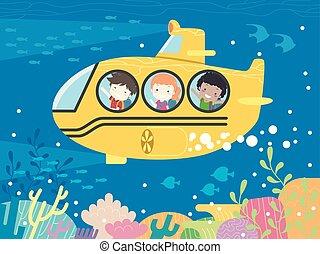 submarino, escola brinca, estudante, ilustração