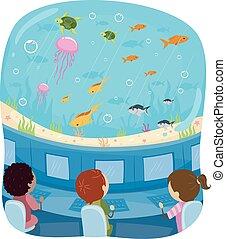 submarino, estudio, niños, stickman, submarino