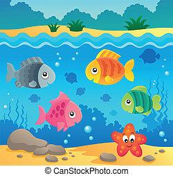 submarino, fauna, 2, tema, océano