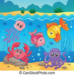 submarino, fauna, 5, tema, océano