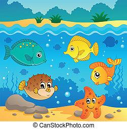 submarino, fauna, océano, tema, 4