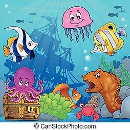 submarino, fauna, océano, tema, 8