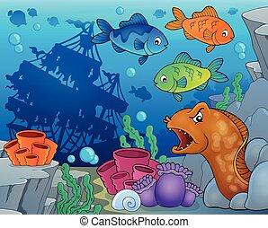 submarino, fauna, océano