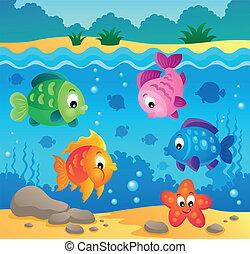 submarino, fauna, tema, 3, océano