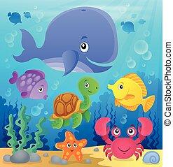 submarino, fauna, tema, 7, océano