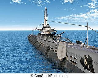 submarino, gatilho, uss