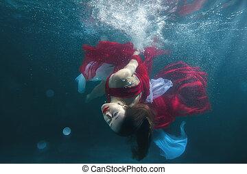 submarino, girl., piscina, bailando
