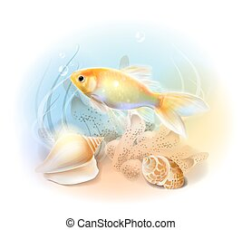submarino, goldfish, fish., sea., ilustración, tropical, ...