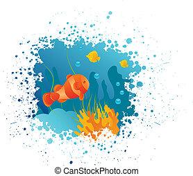 submarino, grunge, plano de fondo, clownfish