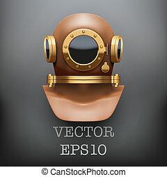 submarino, ilustración, vector, plano de fondo, traje, buceo, helmet.