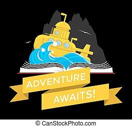 submarino, livro, sci-fi