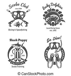 submarino, logotipos, club, set., etiquetas, buceo, escafandra autónoma, natación