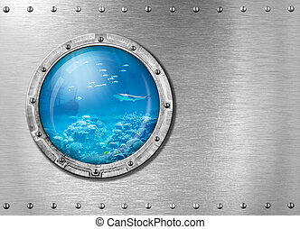 submarino, metal, portilla, submarino