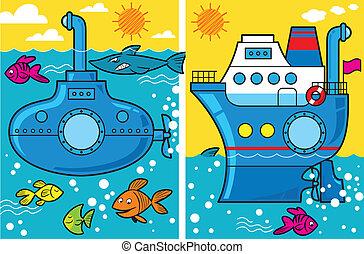 submarino, navio, caricatura