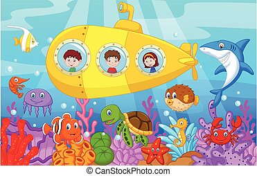 submarino, niños, caricatura, feliz
