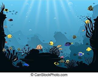 submarino, paisaje, con, vario, agua planta, y, natación, pez tropical
