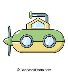 submarino, periscopio, icono, caricatura, estilo