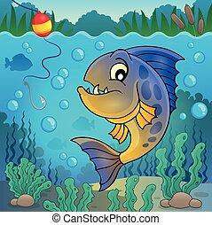 submarino, pez, 2, tema, piraña