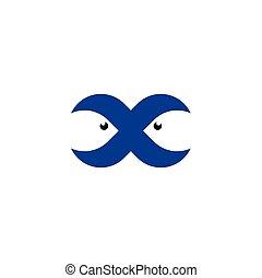 submarino, pez, letra x, logotipo, natación