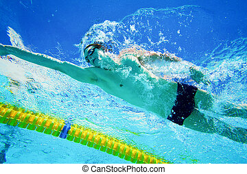 submarino, piscina, nadador