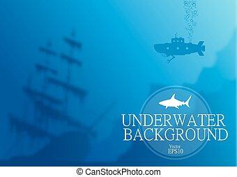 submarino, plano de fondo, confuso